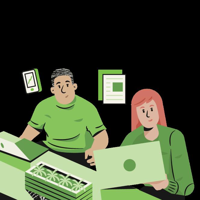 Coworkers at desks